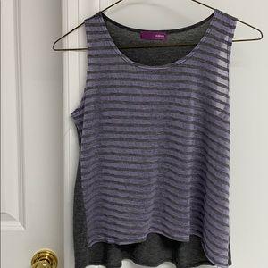 Aqua Purple and Grey Striped Sleeveless Top